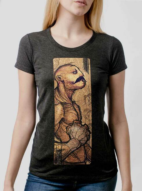 Pugilist - Multicolor on Heather Black Triblend Womens T-Shirt