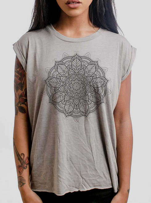 Mandala - Multicolor on Heather Stone Women's Rolled Cuff T-Shirt