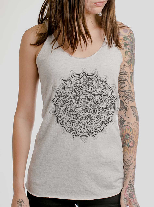 Mandala - Multicolor on White Triblend Womens Racerback Tank Top
