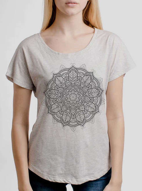Mandala - Multicolor on Heather White Triblend Womens Dolman T Shirt
