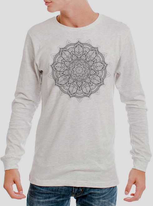Mandala - Multicolor on Heather White Men's Long Sleeve