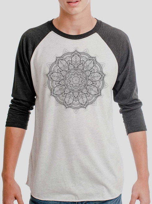 Mandala - Multicolor on Heather White and Black Triblend Raglan