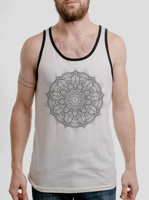 Mandala - Black on White with Black Mens Tank Top