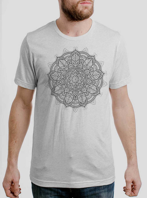 Mandala - Multicolor on Heather White Triblend Mens T Shirt