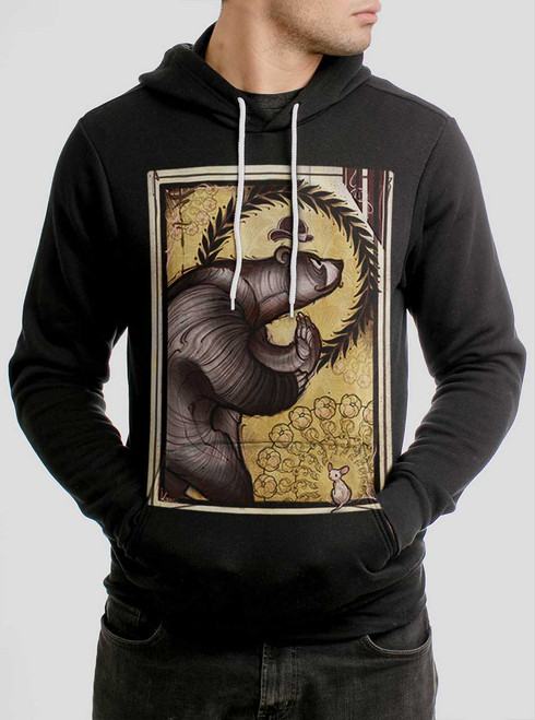 Bear and Mouse - Multicolor on Black Men's Pullover Hoodie