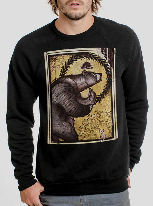 Bear and Mouse - Multicolor on Black Men's Sweatshirt