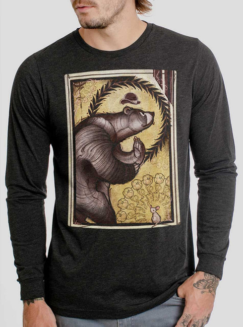 Bear and Mouse - Multicolor on Heather Black Triblend Men's Long Sleeve