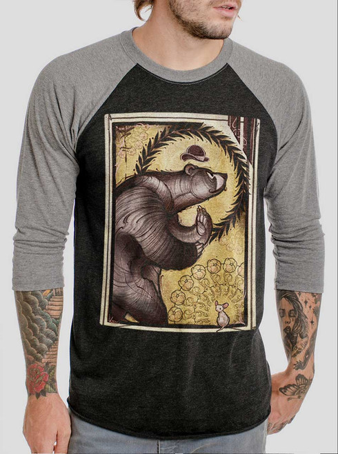 Bear and Mouse - Multicolor on Heather Black and Grey Triblend Raglan
