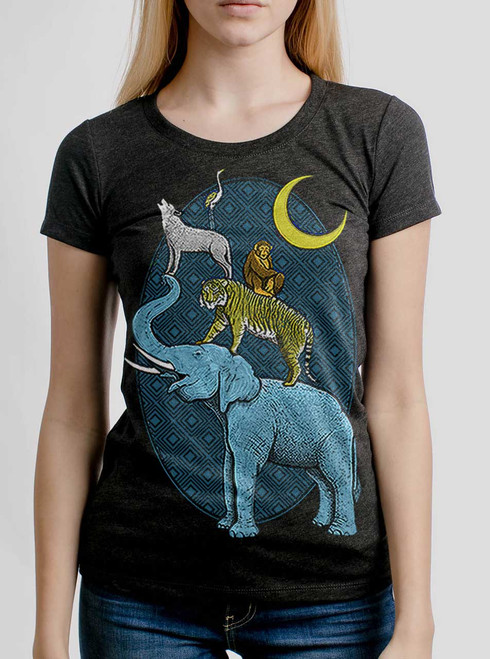 Animal Tower - Multicolor on Heather Black Triblend Womens T-Shirt