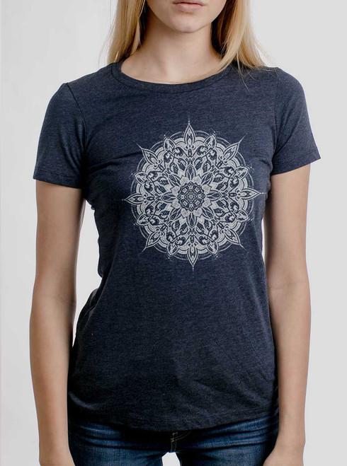 Halo - White on Heather Navy Womens T-Shirt
