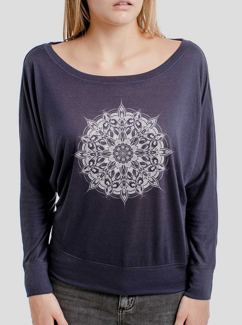 Halo - White on Navy Women's Long Sleeve Dolman