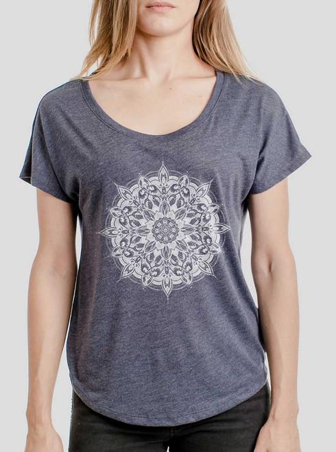 Halo - White on Heather Navy Triblend Womens Dolman T Shirt