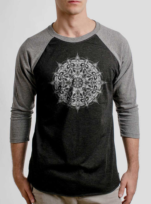 Halo - White on Heather Black and Grey Triblend Raglan