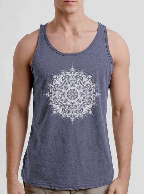 Halo - White on Heather Navy Triblend Mens Tank Top