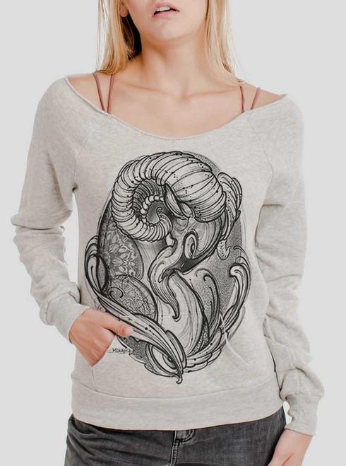 Ram - Black on Oatmeal Triblend Women's Maniac Sweatshirt