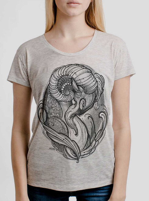 Ram - Black on Heather Oatmeal Womens Relaxed Fit T Shirt