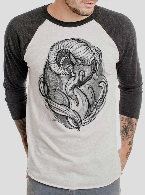 Ram - Black on Heather White and Black Triblend Raglan