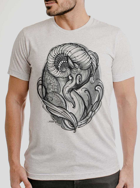 Ram - Black on Heather White Triblend Mens T Shirt