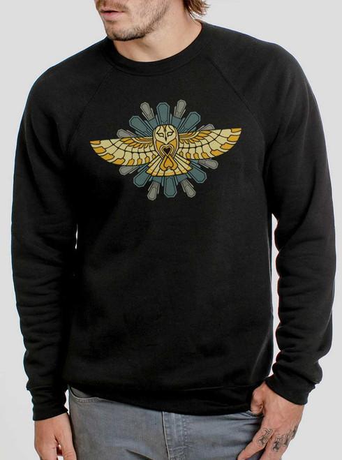Cosmic Owl - Multicolor on Black Men's Sweatshirt