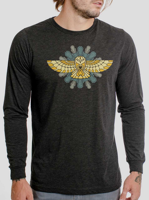 73bd748f5 Cosmic Owl - Multicolor on Heather Black Triblend Men's Long Sleeve