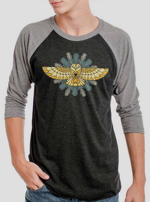 Cosmic Owl - Multicolor on Heather Black and Grey Triblend Raglan