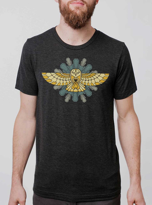 Cosmic Owl - Multicolor on Heather Black Triblend Mens T Shirt