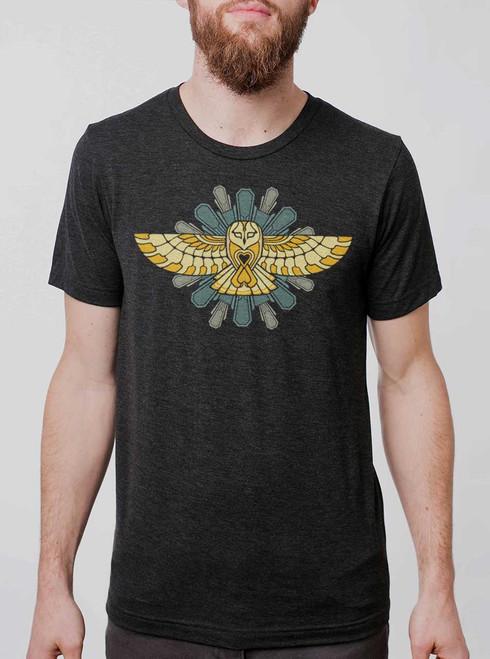Cosmic Owl - Multicolor on Heather Black Triblend Mens T Shirt