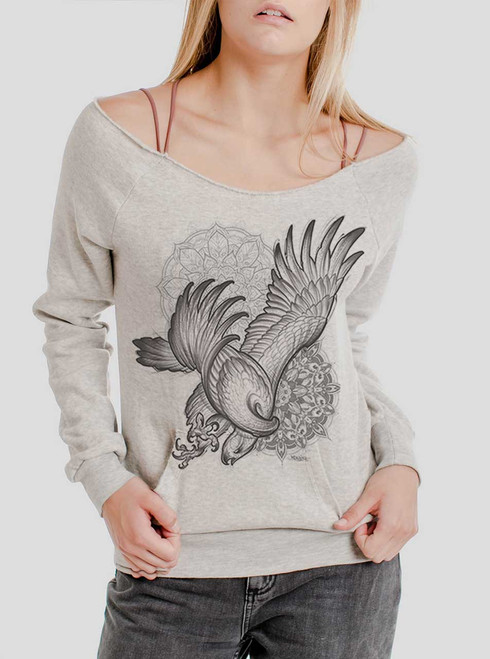 Bird of Prey - Black on Oatmeal Triblend Women's Maniac Sweatshirt