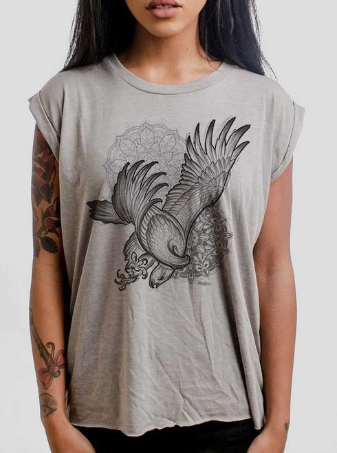 Bird of Prey - Black on Heather Stone Women's Rolled Cuff T-Shirt