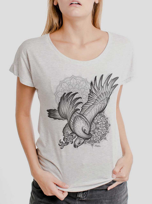 Bird of Prey - Black on Heather White Triblend Womens Dolman T Shirt