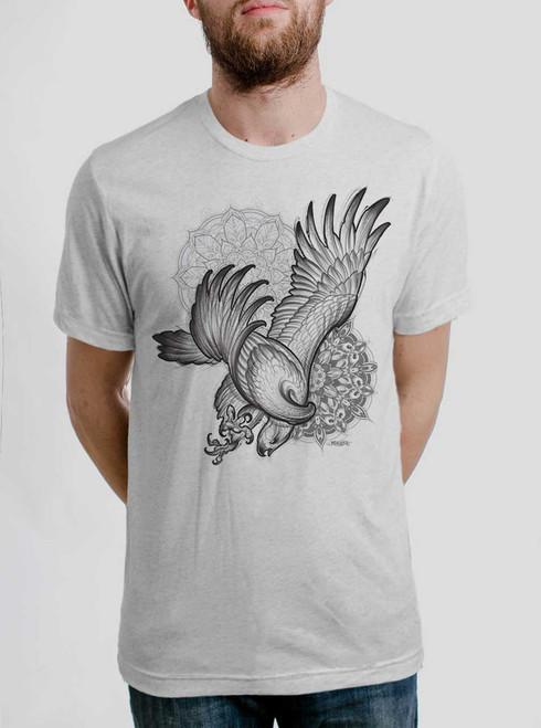 Bird of Prey - Black on Heather White Triblend Mens T Shirt