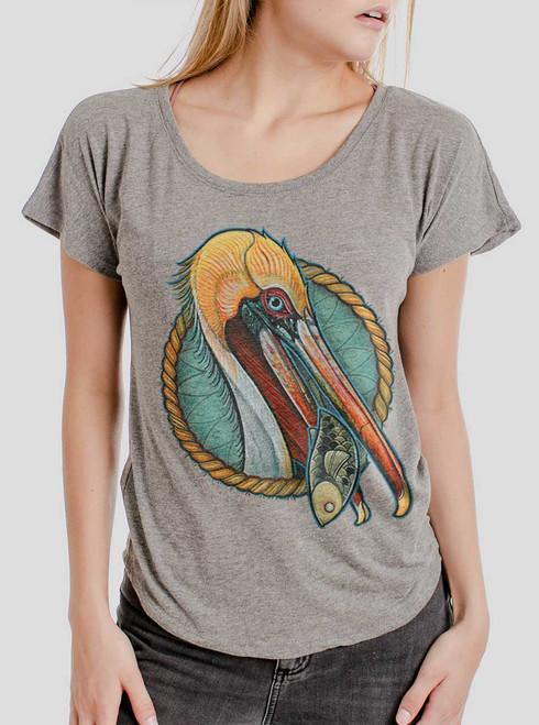 Pelican - Multicolor on Heather Grey Triblend Womens Dolman T Shirt
