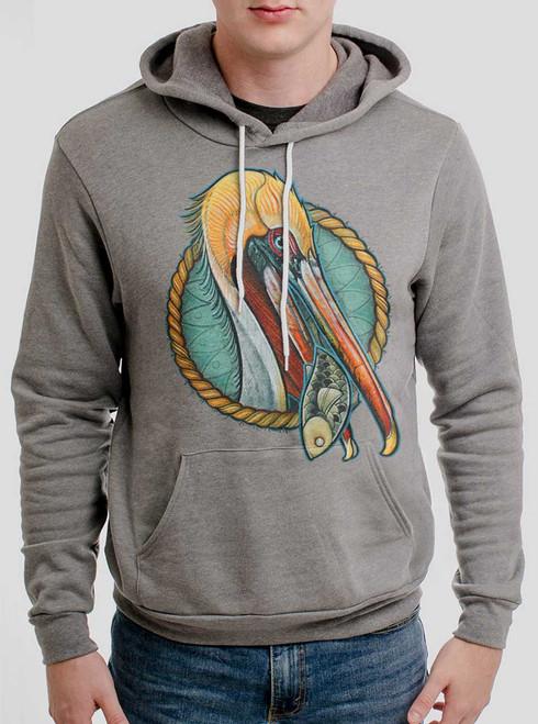 Pelican - Multicolor on Heather Grey Men's Pullover Hoodie