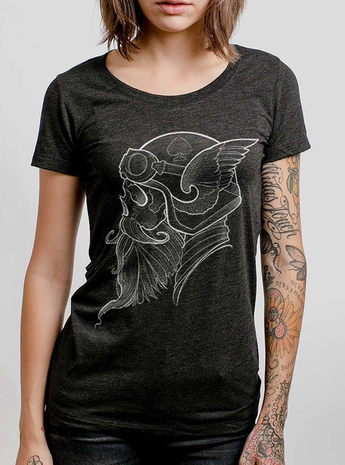 Cafe Racer - White on Heather Black Triblend Junior Womens T-Shirt