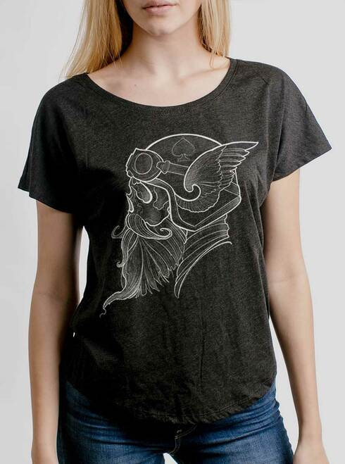 Cafe Racer - White on Heather Black Triblend Womens Dolman T Shirt