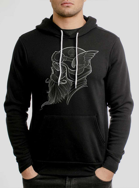Cafe Racer - White on Black Men's Pullover Hoodie