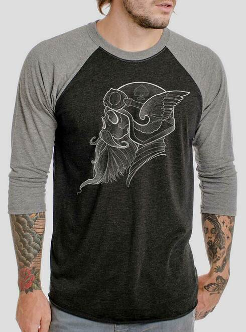 Cafe Racer - White on Heather Black and Grey Triblend Raglan