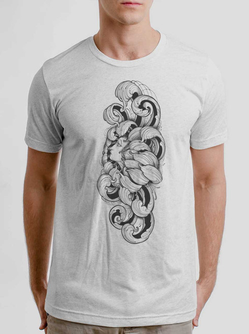 Lady Floral - Multicolor on Heather White Triblend Mens T Shirt
