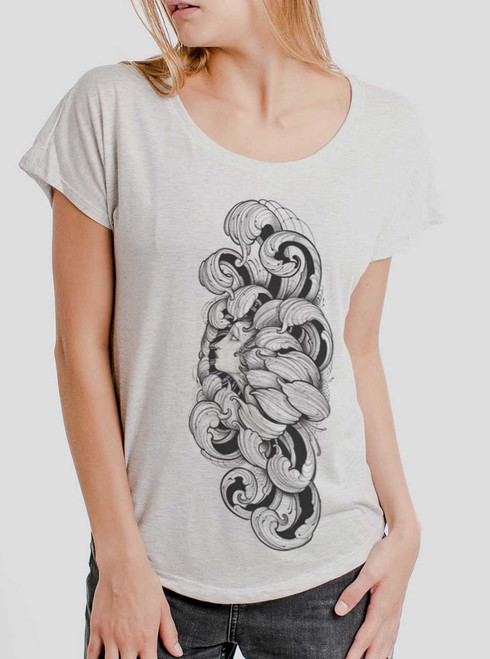 Lady Floral - Multicolor on Heather White Triblend Womens Dolman T Shirt