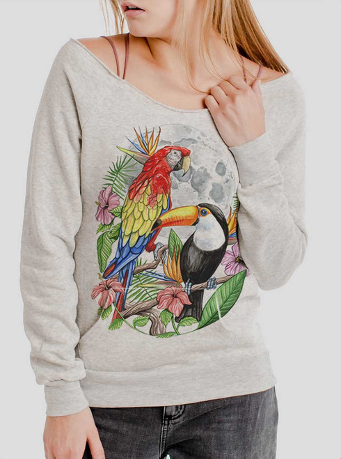 Tropical Birds - Multicolor on Oatmeal Triblend Women's Maniac Sweatshirt