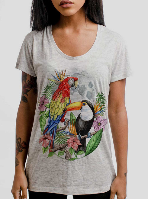 Tropical Birds - Multicolor on Heather Oatmeal Womens Relaxed Fit T Shirt