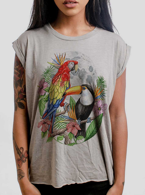 Tropical Birds - Multicolor on Heather Stone Women's Rolled Cuff T-Shirt