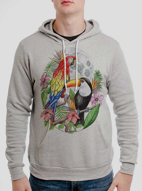 Tropical Birds - Multicolor on Athletic Heather Men's Pullover Hoodie