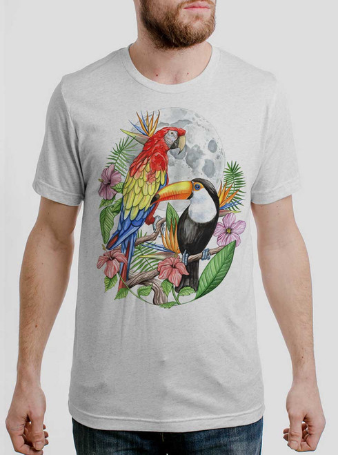 Tropical Birds - Multicolor on Heather White Triblend Mens T Shirt
