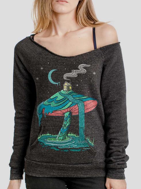 Mushroom Mountain - Multicolor on Charcoal Triblend Women's Maniac Sweatshirt