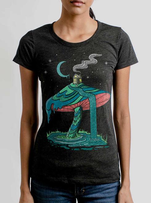 Mushroom Mountain - Multicolor on Heather Black Triblend Womens T-Shirt