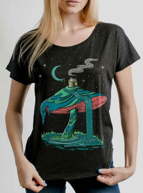 Mushroom Mountain - Multicolor on Heather Black Triblend Womens Dolman T Shirt