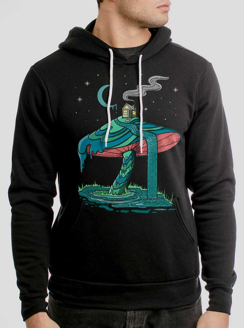 Mushroom Mountain - Multicolor on Black Men's Pullover Hoodie