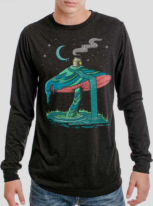 Mushroom Mountain - Multicolor on Heather Black Triblend Men's Long Sleeve