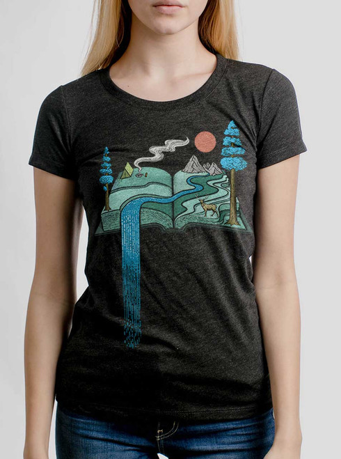 Story Book - Multicolor on Heather Black Triblend Womens T-Shirt